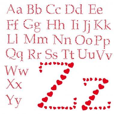 Alphabet made of hearts
