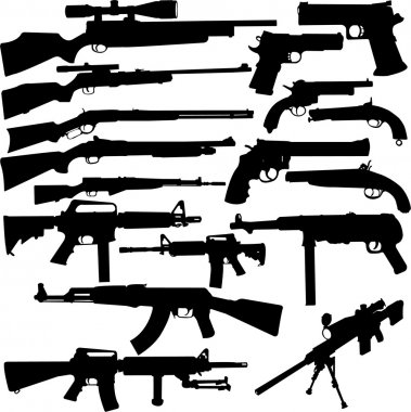 Big weapon collection - vector stock vector