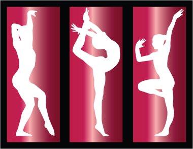 Gymnastics girls on background - vector clip art vector