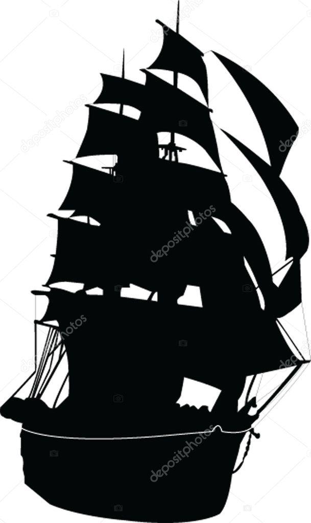sailboat silhouette — stock vector © violeta #2186295