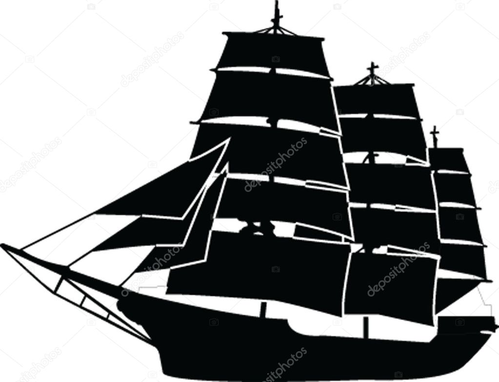 sailboat silhouette with outline — stock vector © violeta #2186305