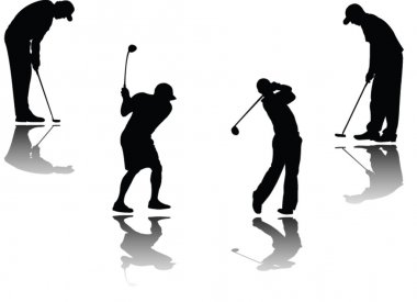 Golf player with shadow