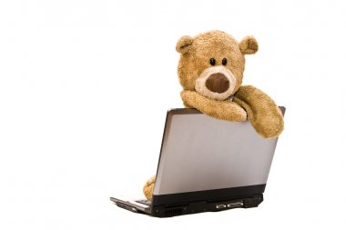 Teddy Bear and modern silver laptop