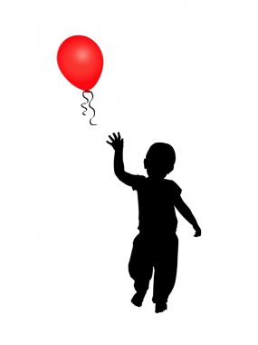 Child reaching for a red balloon