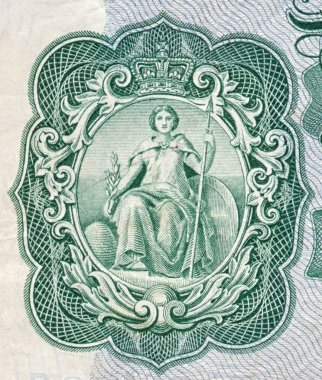 Britannia on an old English bank note