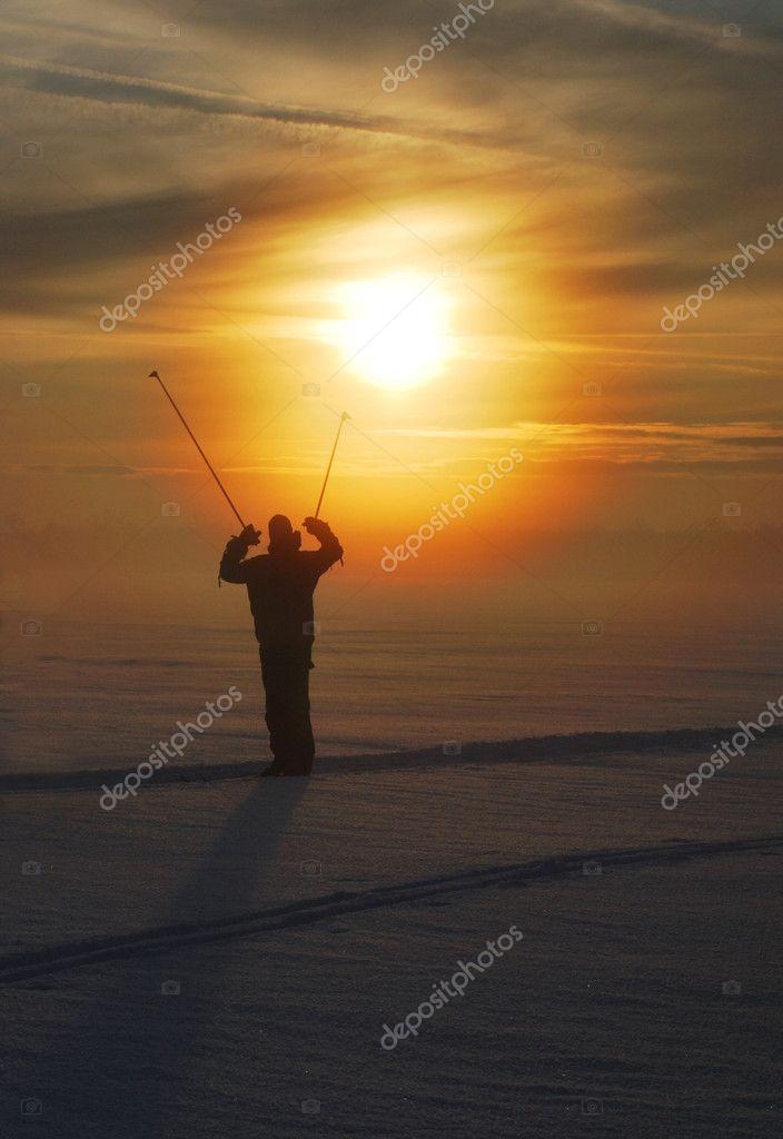 Skier on sunset