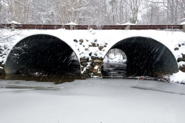Snow covered drainage tunnel.