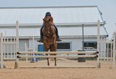 Athletic teen girl jumping a horse