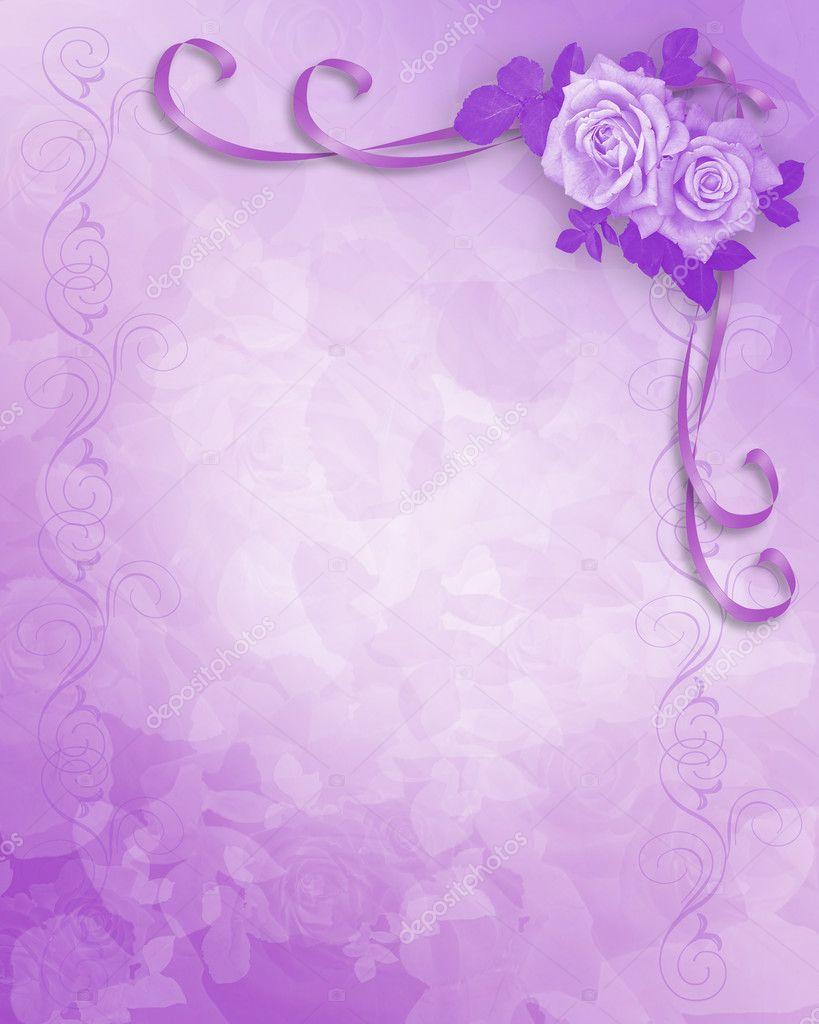 Wedding Invitation Lavender Roses Stock Photo