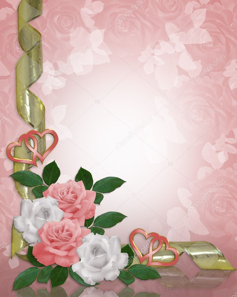 Pink roses Image and illustration composition Corner design for Valentine or wedding invitation background, border or frame with gold ribbons, copy space