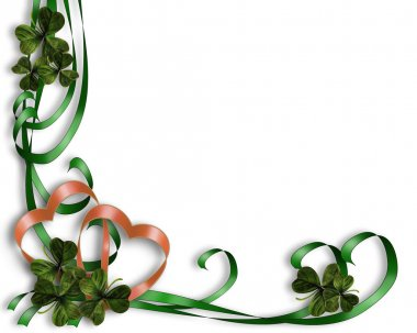 St Patricks Day Border ribbons, clover