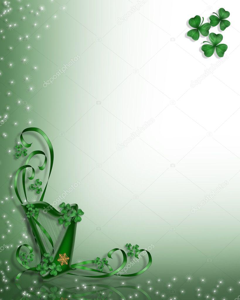 Celtic Harp Border st pattys day — Stock Photo © Irisangel #2075322