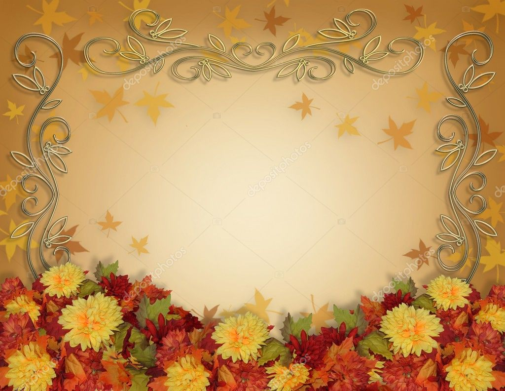 Thanksgiving Fall Leaves Flowers Border Stock Photo 2090335