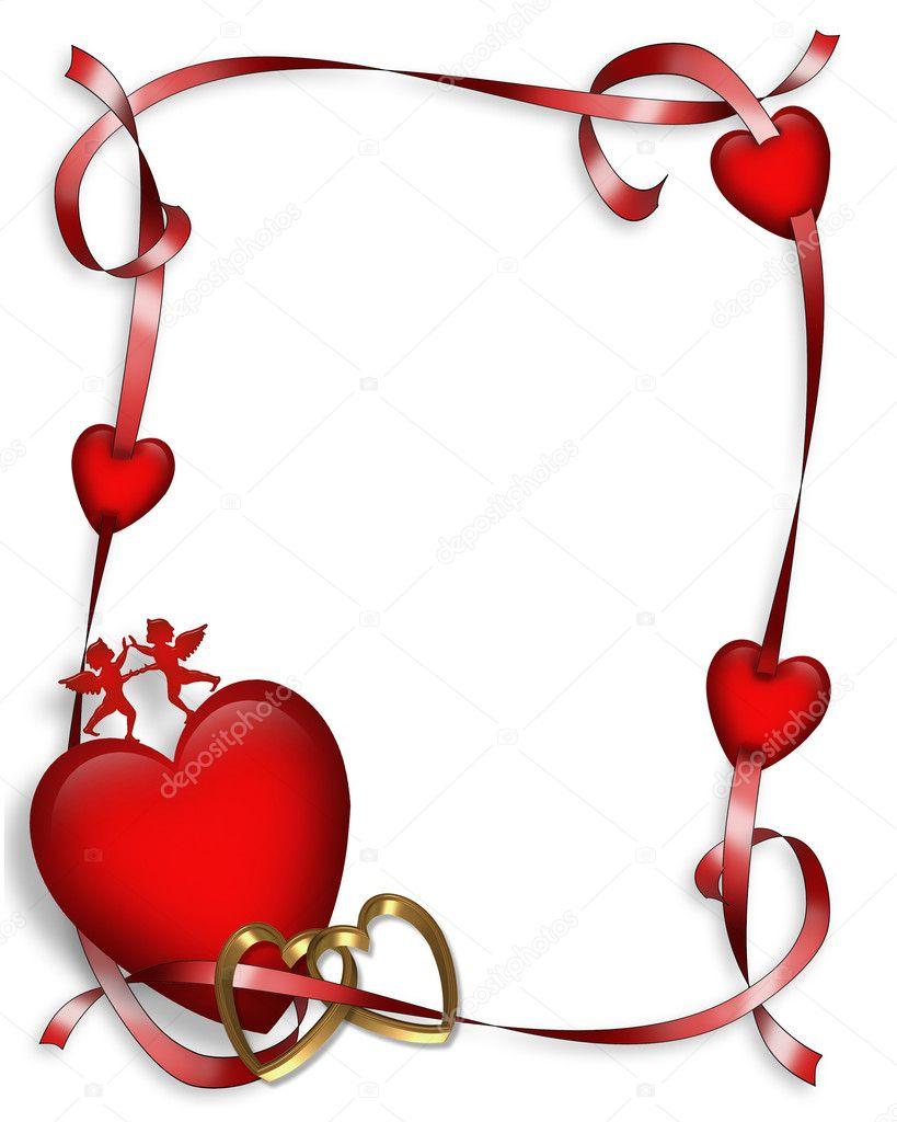valentine hearts and ribbons border u2014 stock photo irisangel 2090362