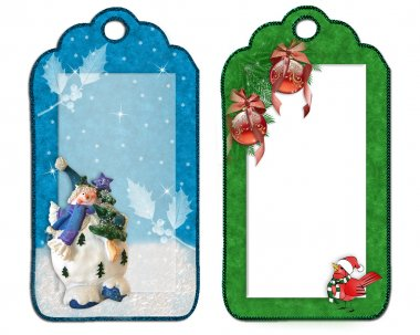 Christmas labels decorations isolated