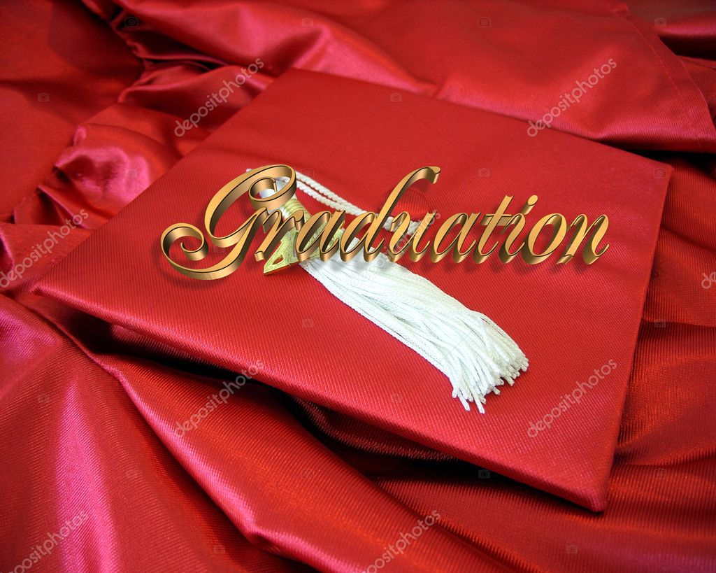 Graduation red cap and gown — Stock Photo © Irisangel #2130039