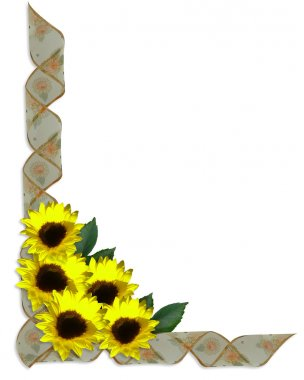 Sunflowers Floral Corner Design ribbons