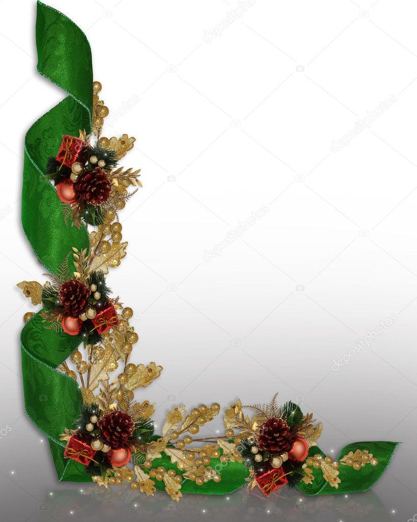 christmas border elegant ribbons  u2014 stock photo  u00a9 irisangel
