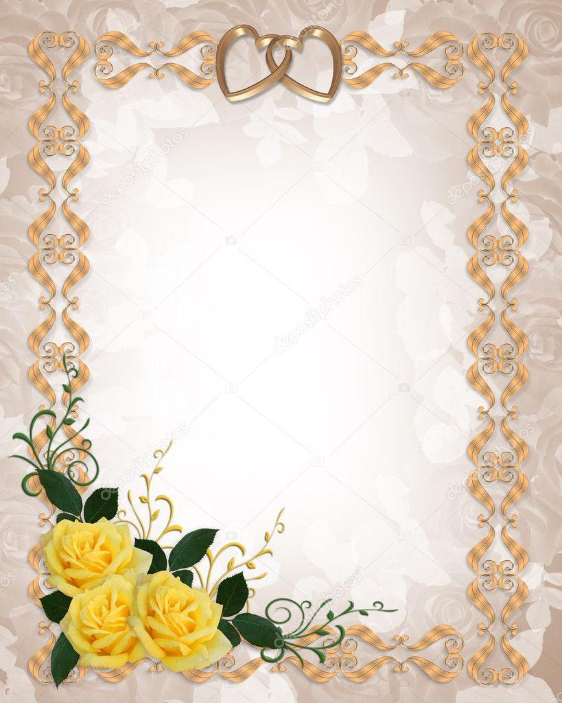 Wedding Invitation Yellow Roses Border — Stock Photo © Irisangel ...