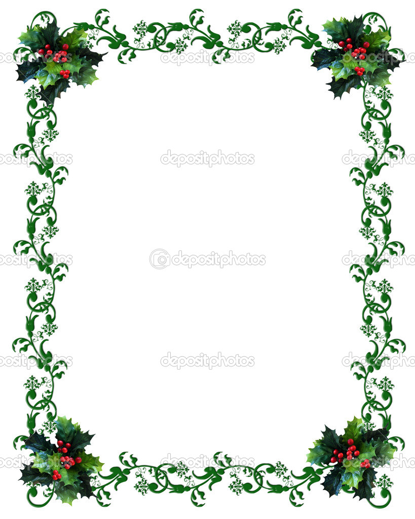 christmas border holly stock photo