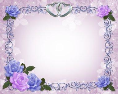 Wedding invitation roses Blue Lavender