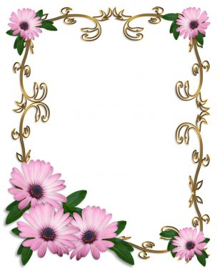 Daisy Border wedding invitation lavender