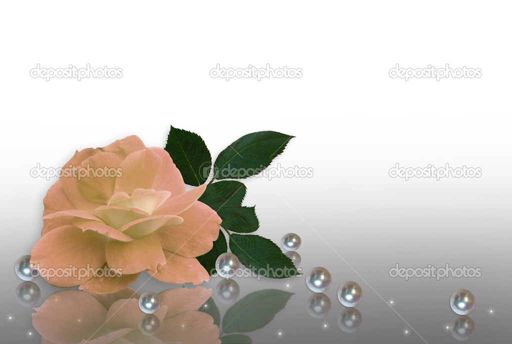 Wedding Invitation Peach rose and pearls