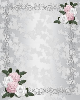 Wedding invitation template Satin roses