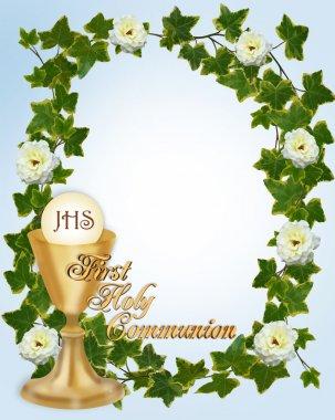 First Communion Invitation blue