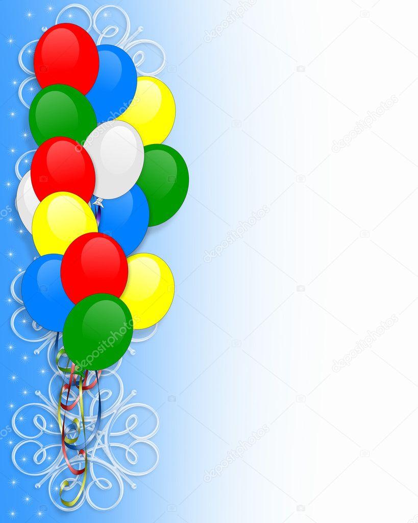 Urodziny Zaproszenia Balony Granicy Zdjęcie Stockowe Irisangel