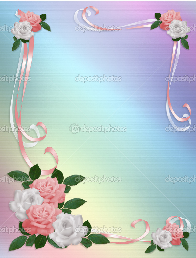 Roses Border pink white wedding template Stock Photo Irisangel