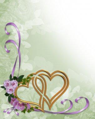 Wedding invitation gold hearts