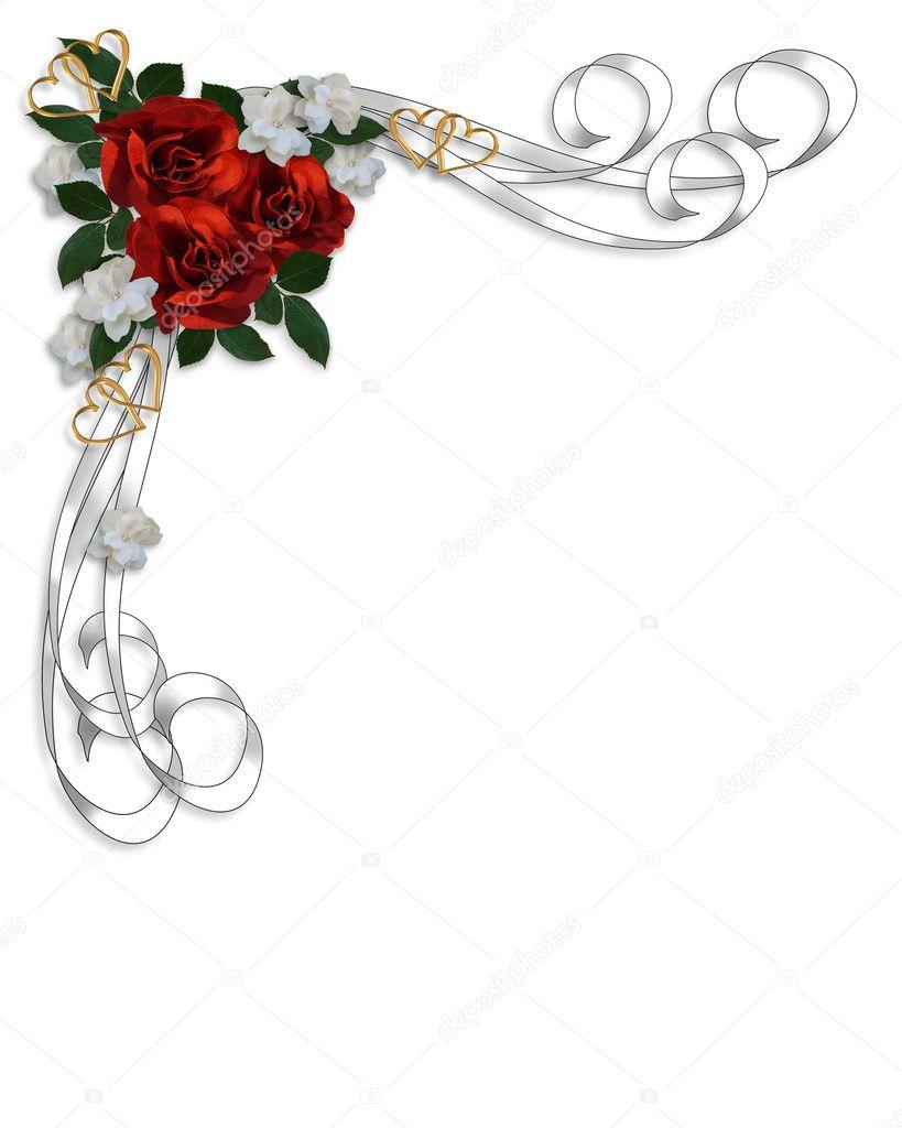 Hochzeit Einladung rote Rosen Grenze — Stockfoto © Irisangel #2239921