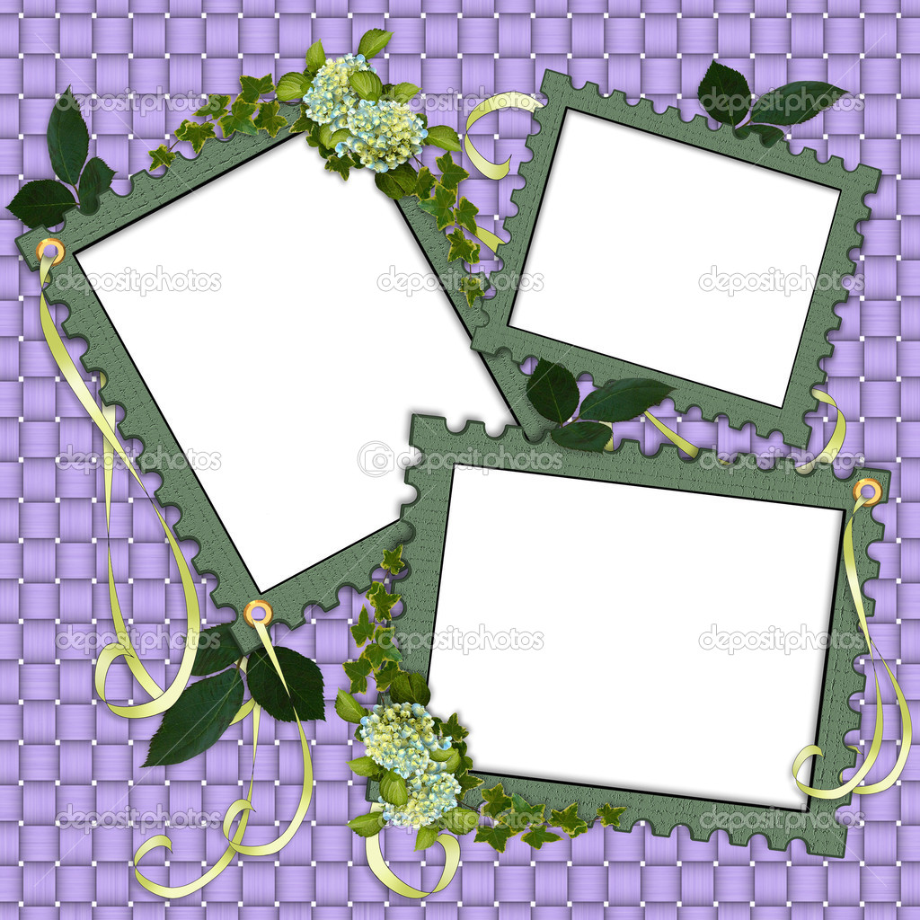 Floral border scrapbook album page stock photo for Templates for scrapbooking to print