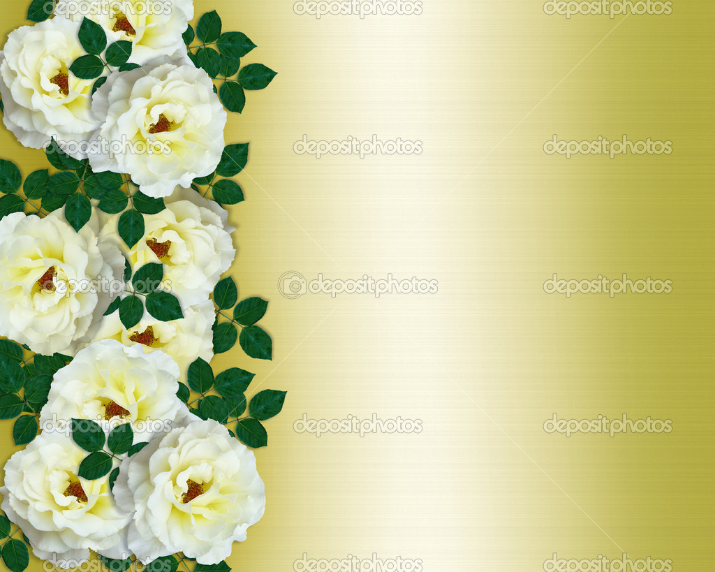 Wedding invitation white roses yellow sa