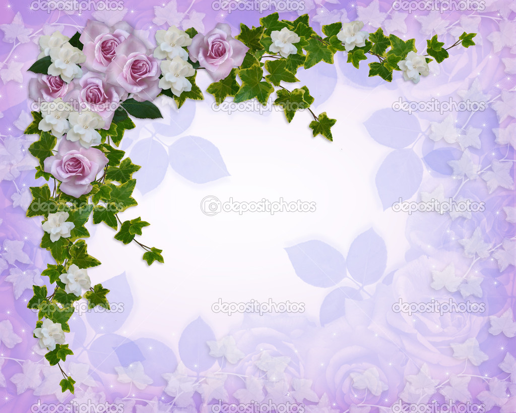Roses and gardenias floral border