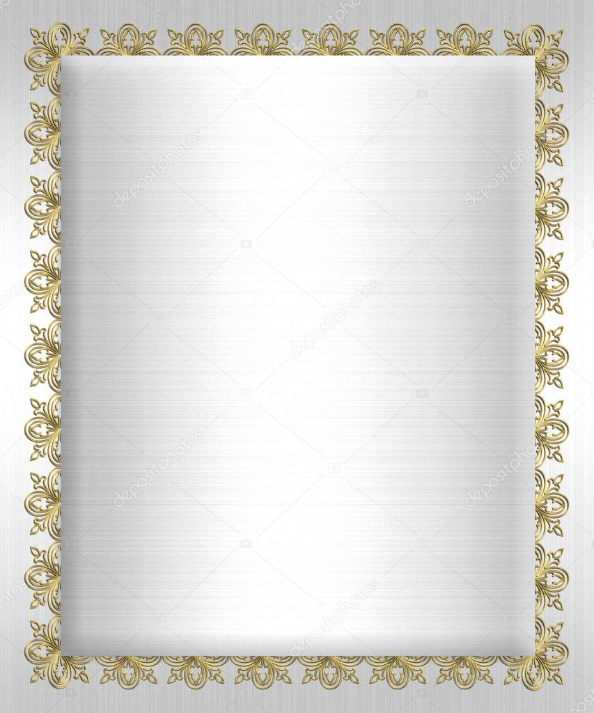 Formal invitation template white satin stock photo irisangel formal invitation template gold ornamental background border on white satin for wedding or elegant anniversary party with copy space photo by irisangel stopboris Choice Image