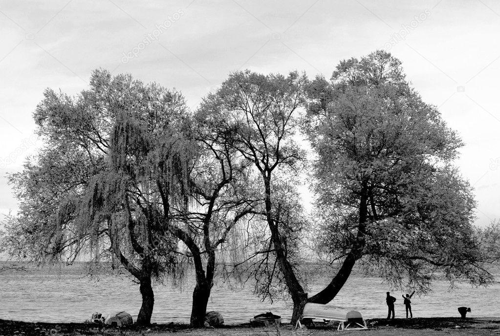 Happy family near the Ohrid Lake