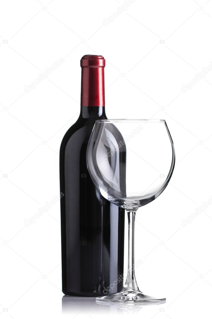 Red wine bottle and an empty glass