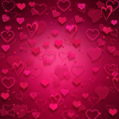 Many pink hearts on pink background.