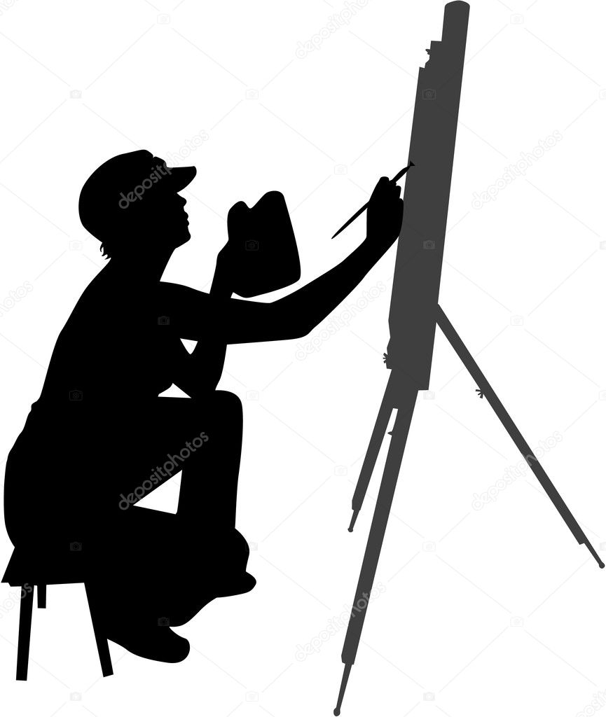 Kadın Resim Boyama Stok Vektör Pablonis 2053841