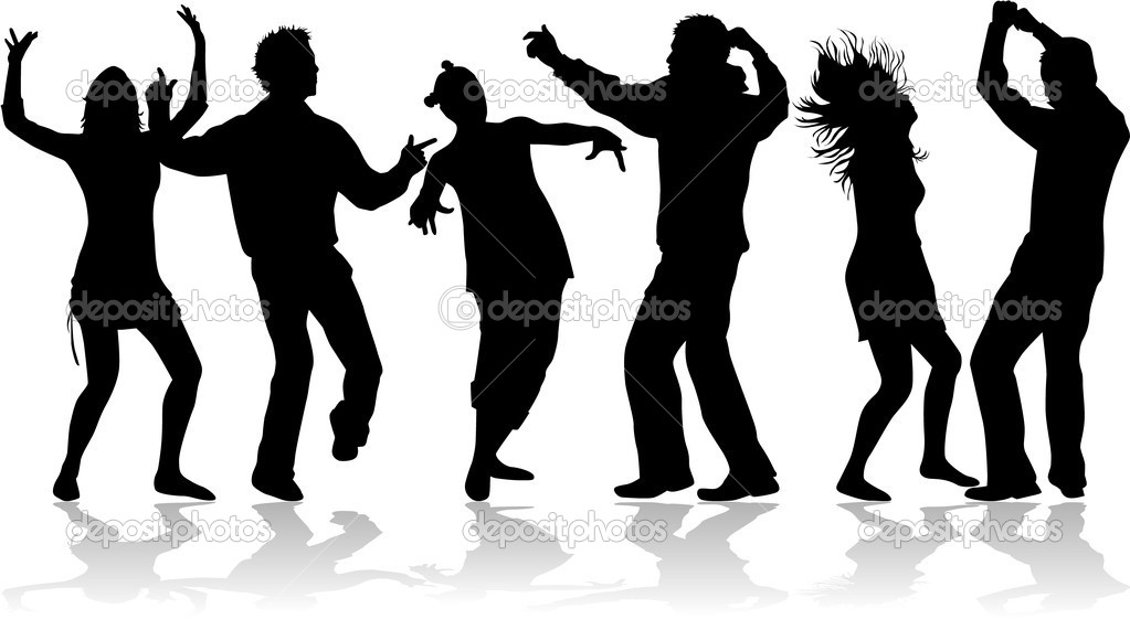 disco dance - black silhouettes — stock vector © pablonis #2057322