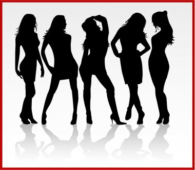 Group of women clip art vector