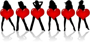 Girls With Heart , vector work 2 clip art vector