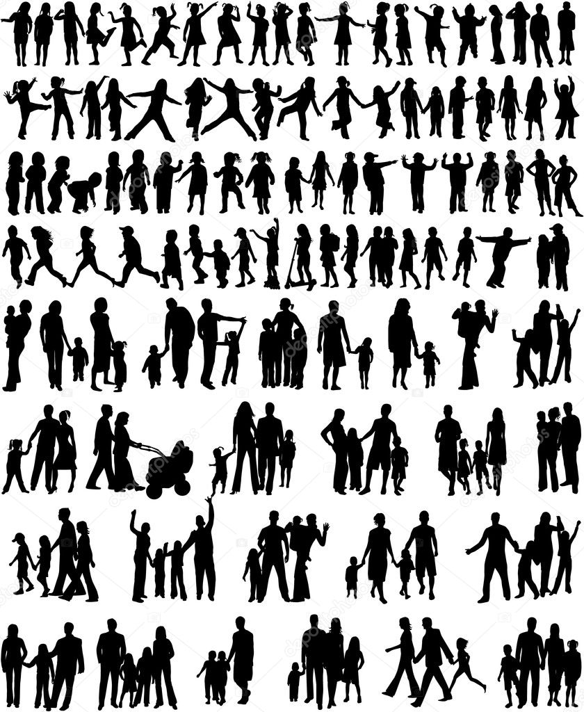 Collection Of Family Silhouettes stock vector