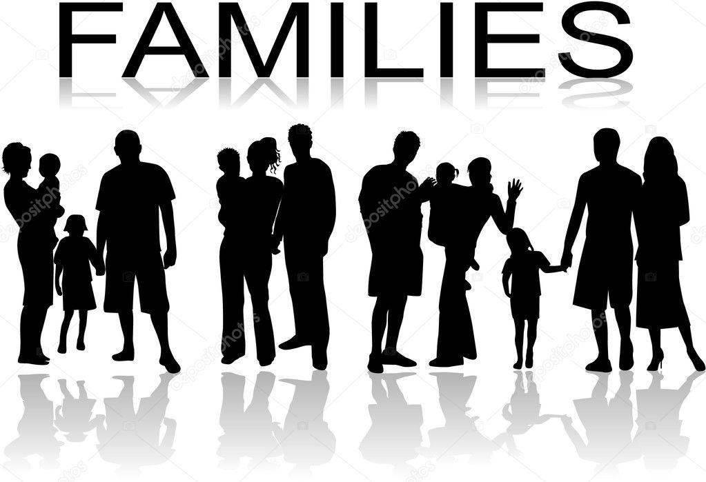 Families - black silhouette , vectors work stock vector