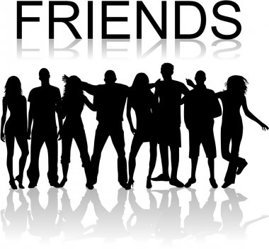 Friends - vectors work , black silhouettes clip art vector