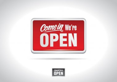 Come in we're open placard icon