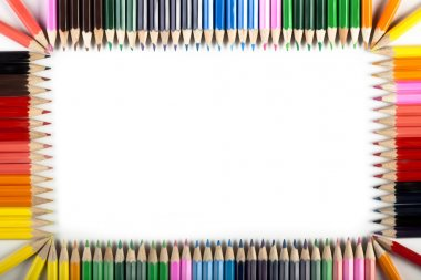 Colored Border made by pencils stock vector