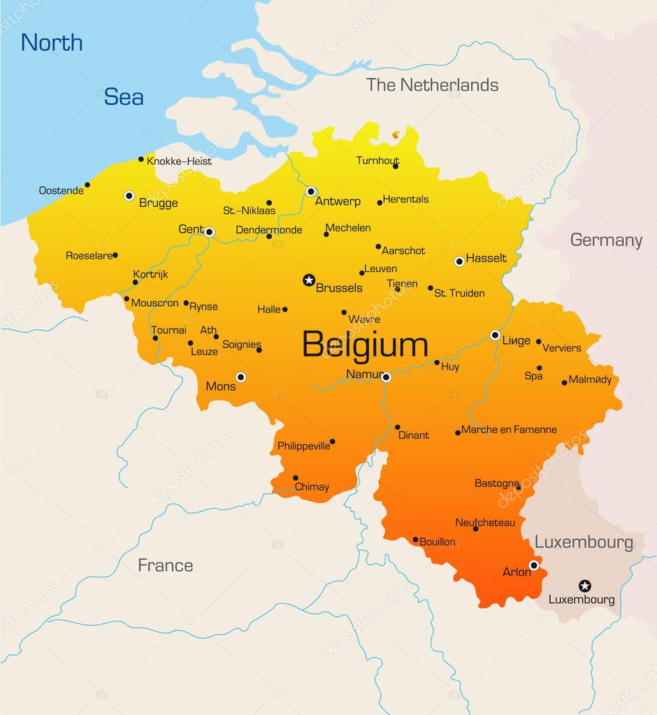 belgium map stock vector